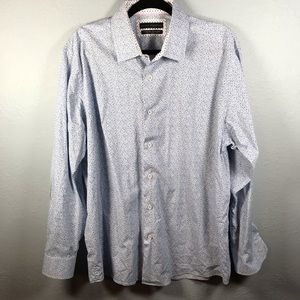 Report Collection blue floral button down